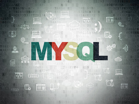 mysql: Software concept: Painted multicolor text MySQL on Digital Paper background with  Hand Drawn Programming Icons