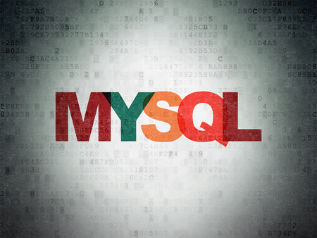 mysql: Software concept: Painted multicolor text MySQL on Digital Paper background