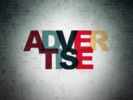 advertise: Advertising concept: Painted multicolor text Advertise on Digital Paper background