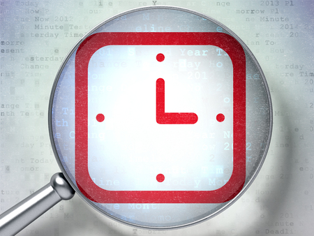 cronologia: Time concept: magnifying optical glass with Watch icon on digital background