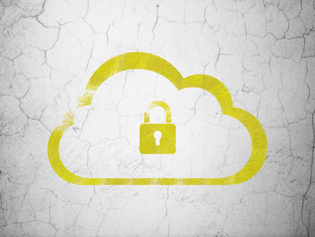 wall cloud: Cloud computing concept: Yellow Cloud With Padlock on textured concrete wall background