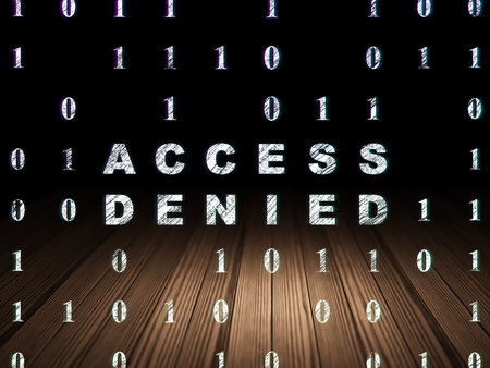 room access: Privacy concept: Glowing text Access Denied in grunge dark room with Wooden Floor, black background with Binary Code