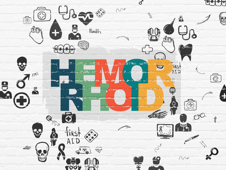 hemorrhoid: Medicine concept: Painted multicolor text Hemorrhoid on White Brick wall background with Scheme Of Hand Drawn Medicine Icons