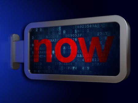 cronologia: Timeline concept: Now on advertising billboard background, 3d render