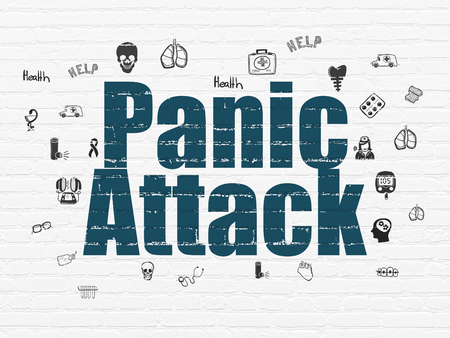 panic attack: Medicine concept: Painted blue text Panic Attack on White Brick wall background with  Hand Drawn Medicine Icons