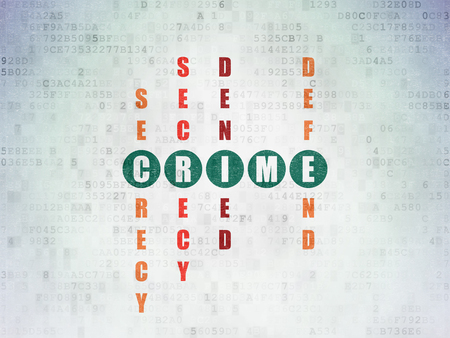 crime solving: Protection concept: Painted green word Crime in solving Crossword Puzzle on Digital Paper background