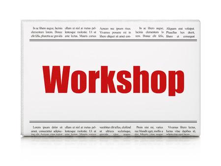 newspaper headline: Studying concept: newspaper headline Workshop on White background, 3d render