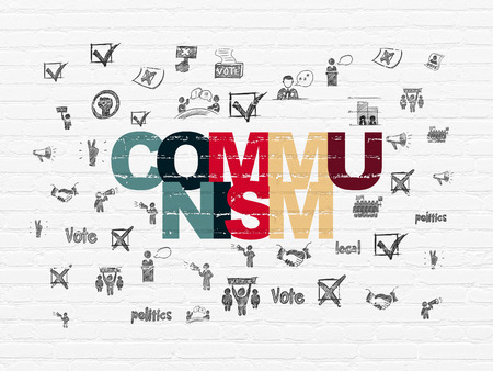 communism: Politics concept: Painted multicolor text Communism on White Brick wall background with  Hand Drawn Politics Icons