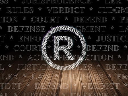 r regulation: Law concept: Glowing Registered icon in grunge dark room with Wooden Floor, black background with  Tag Cloud
