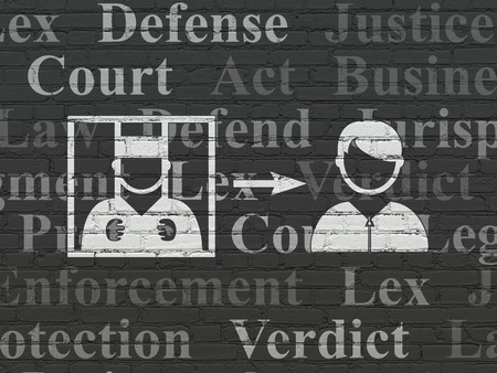 freed: Law concept: Painted white Criminal Freed icon on Black Brick wall background with  Tag Cloud
