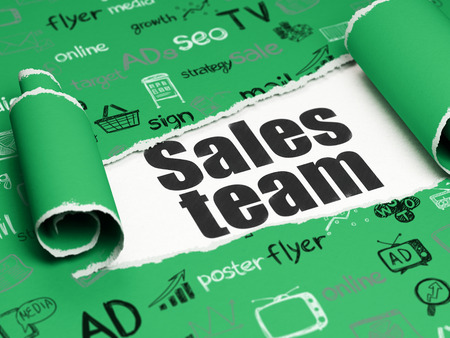 brand damage: Marketing concept: black text Sales Team under the curled piece of Green torn paper with  Hand Drawn Marketing Icons Stock Photo