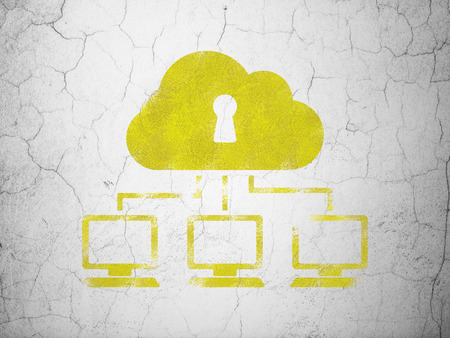 wall cloud: Cloud technology concept: Yellow Cloud Network on textured concrete wall background Stock Photo