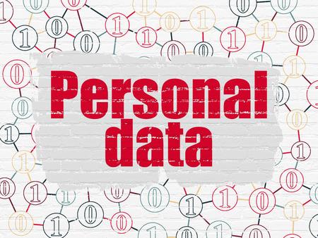 datos personales: Concepto de la información: texto rojo pintado de Datos Personales en el fondo blanco de la pared de ladrillo con el esquema del código binario