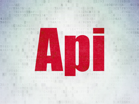api: Database concept: Painted red word Api on Digital Paper background