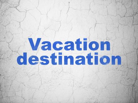 destination: Tourism concept: Blue Vacation Destination on textured concrete wall background Stock Photo