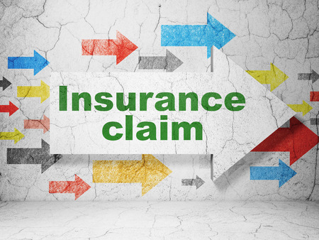 insurance claim: Insurance concept:  arrow with Insurance Claim on grunge textured concrete wall background Stock Photo