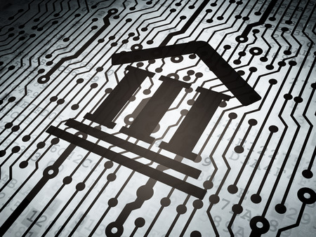 data protection act: Law concept: circuit board with  Courthouse icon, 3d render