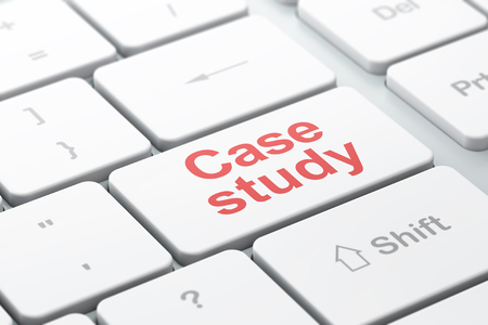 the case selected: Studying concept: computer keyboard with word Case Study, selected focus on enter button background, 3d render
