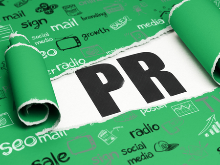 Advertising concept: black text PR under the curled piece of Green torn paper with  Hand Drawn Marketing Icons