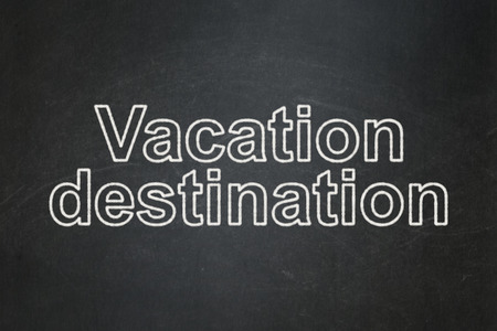 vacation destination: Vacation concept: text Vacation Destination on Black chalkboard background Stock Photo