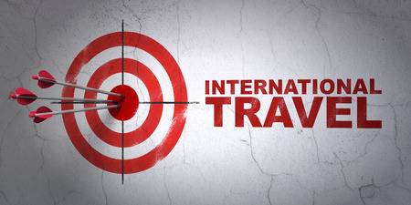 hitting a wall: Success tourism concept: arrows hitting the center of target, Red International Travel on wall background