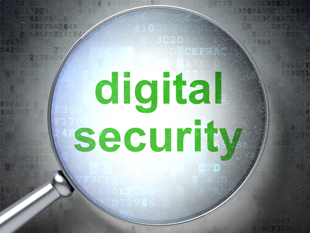 privat: Safety concept: magnifying optical glass with words Digital Security on digital background
