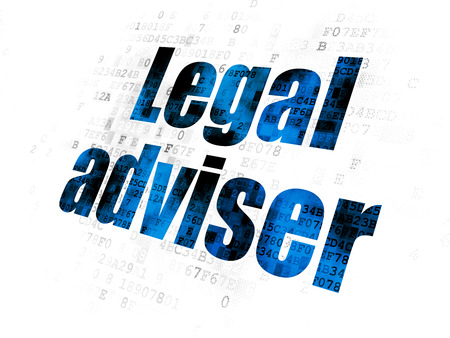 cyber defence: Law concept: Pixelated blue text Legal Adviser on Digital background Stock Photo