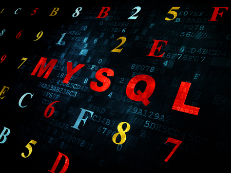 mysql: Database concept: Pixelated red text MySQL on Digital wall background with Hexadecimal Code