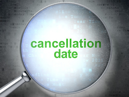 cancellation: Timeline concept: magnifying optical glass with words Cancellation Date on digital background