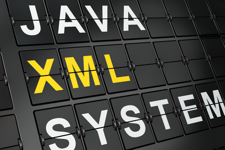 xml: Programming concept: Xml on airport board background, 3d render Stock Photo