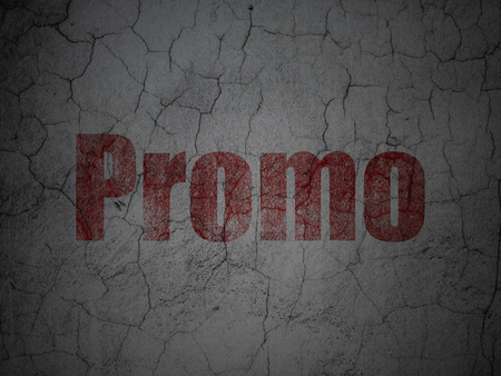publicity: Marketing concept: Red Promo on grunge textured concrete wall background