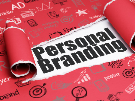 Marketing concept: black text Personal Branding under the curled piece of Red torn paper with  Hand Drawn Marketing Icons Stock Photo