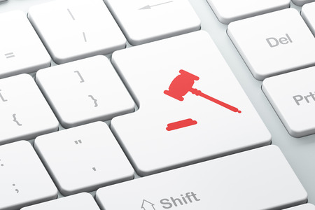 Law concept: Enter button with Gavel on computer keyboard background, 3d render Foto de archivo