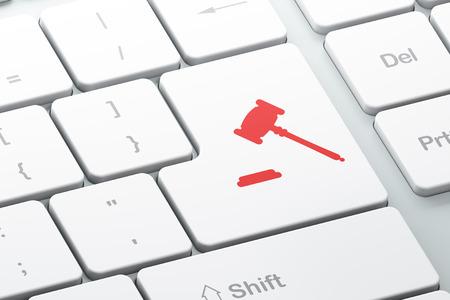 Law concept: Enter button with Gavel on computer keyboard background, 3d render Standard-Bild