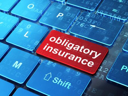 obligatory: Insurance concept: computer keyboard with word Obligatory Insurance on enter button background, 3d render Stock Photo