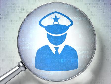 法の概念: デジタル背景上の警察アイコンと光学ガラスを拡大