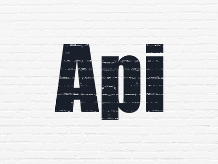 api: Programming concept: Painted black text Api on White Brick wall background