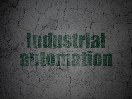 industrial automation: Industry concept: Green Industrial Automation on grunge textured concrete wall background