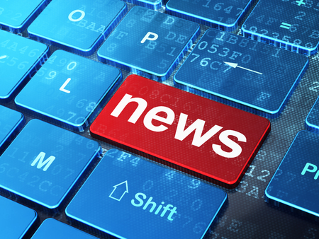 News concept: computer keyboard with word News on enter button background, 3d render