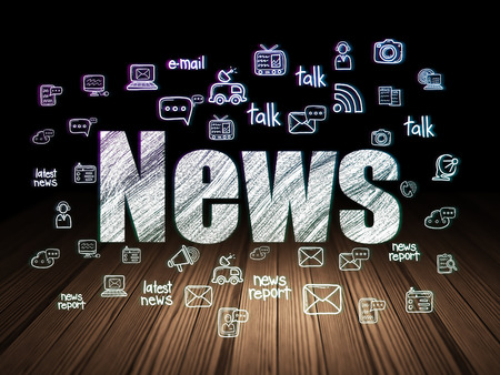 news room: News concept: Glowing text News,  Hand Drawn News Icons in grunge dark room with Wooden Floor, black background Stock Photo