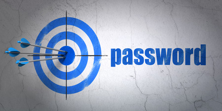 success security: Success security concept: arrows hitting the center of target, Blue Password on wall background Stock Photo