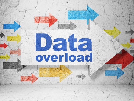 blue grunge background: Data concept:  arrow with Data Overload on grunge textured concrete wall background Stock Photo