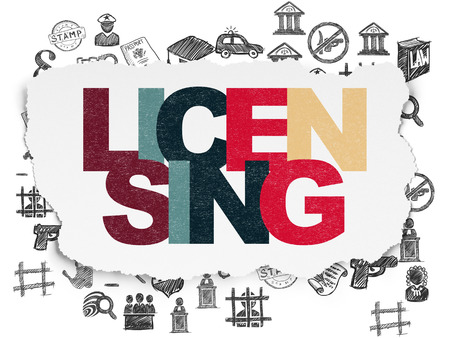 licensing: Law concept: Painted multicolor text Licensing on Torn Paper background with  Hand Drawn Law Icons