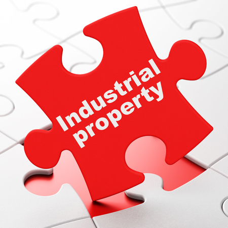 lex: Law concept: Industrial Property on Red puzzle pieces background, 3d render Stock Photo