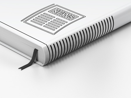 closed book: News concept: closed book with Black Newspaper icon on floor, white background, 3d render