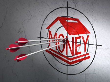 debt goals: Success banking concept: arrows hitting the center of Red Money Box target on wall background Stock Photo