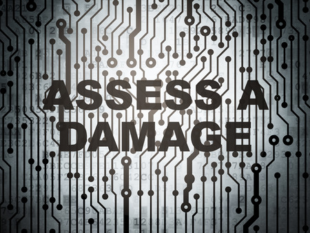 assess: Insurance concept: circuit board with  word Assess A Damage, 3d render