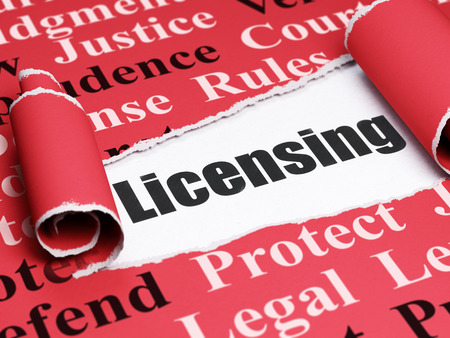 licensing: Law concept: black text Licensing under the curled piece of Red torn paper with  Tag Cloud Stock Photo