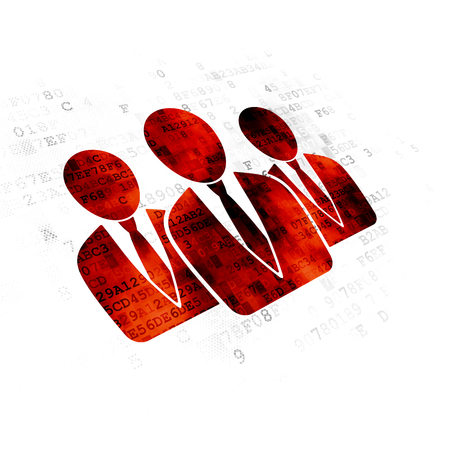 data protection act: Law concept: Pixelated red Business People icon on Digital background Stock Photo