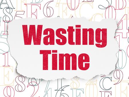 cronologia: Concepto de tiempo: Pintado texto rojo que pierde tiempo en el fondo de papel rasgado con el c�digo hexadecimal